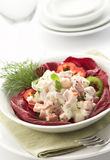 Salad served with mayonnaise Stock Photo