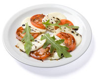 Salad served on white plate. High angle view, isolated, with clipping path Stock Photography