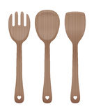Salad Servers Wooden Cutlery Royalty Free Stock Images