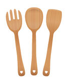 Salad Servers Wooden Set Royalty Free Stock Images