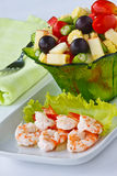 Salad with shrimp. Fresh and healthy vegetable and fruit salad with shrimp Royalty Free Stock Photo