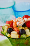 Salad with shrimp. Fresh and healthy vegetable and fruit salad with shrimp Royalty Free Stock Photography