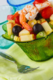 Salad with shrimp. Fresh and healthy vegetable and fruit salad with shrimp Stock Photography