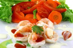 Salad Shrimp Stock Photo