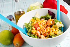 Salad with shrimp. Whith vegetables on the table Royalty Free Stock Photo