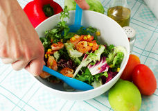 Salad with shrimp. Whith vegetables on the table Stock Image
