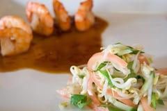 Salad and shrimp. (closeup image Stock Photos