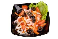 Salad of shrimp. Mixed greens and tomatoes Royalty Free Stock Photos