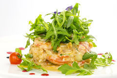 Salad with shrimp and arugula Royalty Free Stock Image