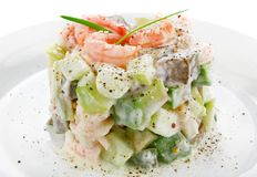 Salad of shrimp avocado and apple Stock Images