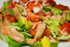 Salad with shrimp and avocado Stock Photography