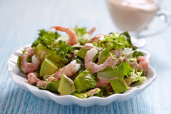 Salad with shrimp and avocado Stock Images