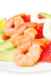 Salad with shrimp, avocado and grapefruit Royalty Free Stock Photos