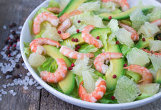 Salad with shrimp, avocado and grapefruit Stock Photography