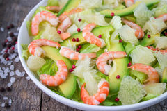 Salad with shrimp, avocado and grapefruit Stock Photo