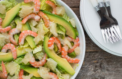 Salad with shrimp, avocado and grapefruit Royalty Free Stock Image