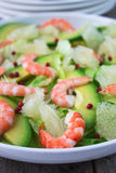 Salad with shrimp, avocado and grapefruit Royalty Free Stock Photography
