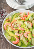 Salad with shrimp, avocado and grapefruit Stock Photos
