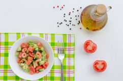 Salad with shrimp, avocado and vegetables Stock Image