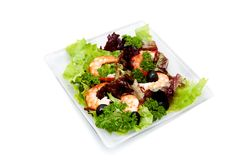 Salad with shrimp, black olives and herbs Royalty Free Stock Images