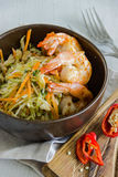 Salad with shrimp, cabbage and capers. Hot chili Royalty Free Stock Photos