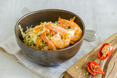 Salad with shrimp, cabbage and capers. Hot chili Stock Photo