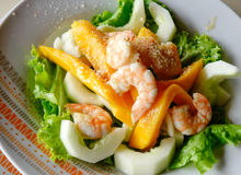 Salad with shrimp. For lunch Royalty Free Stock Images