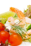 Salad of shrimp, mixed greens,tomatoes. Stock Image