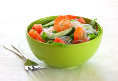 Salad with shrimp,rice noodles and vegetables Royalty Free Stock Photography