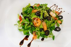 Salad from Shrimp and Salmon. Garnished with olives Stock Photography
