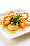 Salad with shrimp and scallop Stock Photo