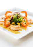 Salad with shrimp and scallop Stock Photography