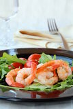 Salad with shrimp and tomatoes Stock Photos