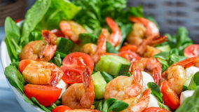Salad with shrimp and vegetables Royalty Free Stock Image