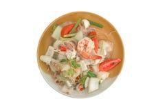 Salad with shrimp. On white background Royalty Free Stock Photos