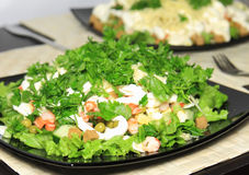 Salad with shrimps. Salad with shrimps,dried crust, green peas and leaf of lettuce stock photography