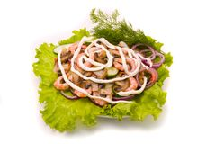 Salad from shrimps Stock Photography