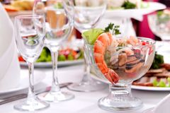Salad with shrimps Royalty Free Stock Image