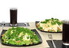 Salad-shrimps. Salad with shrimps, dried crust, leaf of lettuce and fizz drink. isolated Stock Photos