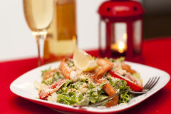 Salad with shrimps Royalty Free Stock Photos