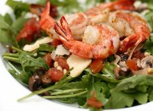 Salad from shrimps. Close up Royalty Free Stock Photo