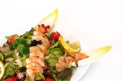 Salad with shrimps. Foto of a Salad with shrimps royalty free stock photography