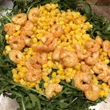 Fun salad with shrimps arugula and corn on plate. Salad with shrimps arugula and corn on plate, background, delicious, diet, dinner, dish, food, fresh, gourmet stock photos