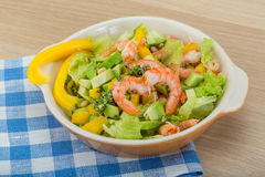 Salad with shrimps and avocado Stock Photo