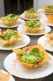 Salad with shrimps  in bowls Royalty Free Stock Photography