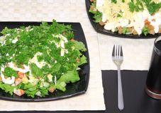 Salad with shrimps, dried crust, leaf of lettuce. Stock Photo