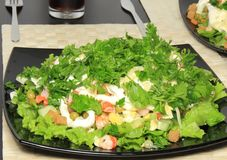 Salad with shrimps, dried crust, leaf of lettuce. Stock Photography