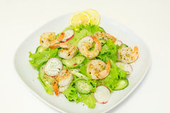 Salad with shrimps and fresh vegetables Stock Image