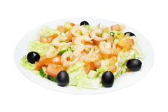 Salad with the shrimps Stock Photography