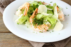 Salad with shrimps, lettuce and cheese Stock Image
